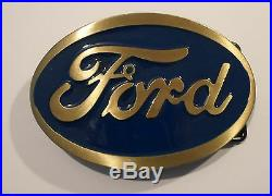 Ford Vintage Brass Old Model A T Style Metal Belt Buckle Bike Truck Tractor Car