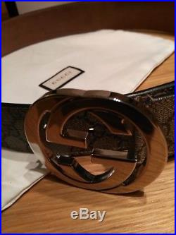 GENUINE GUCCI GG Supreme belt with G buckle Size 85cm