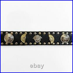GIANNI VERSACE Black Leather BELT Gold Silver Tone STUDDED Size 34 from 1993 VTG