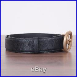 GUCCI 450$ Authentic New Black Leather Belt With Interlocking GG Buckle