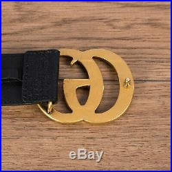 GUCCI 450$ Men's Black Leather Belt with Double G Buckle
