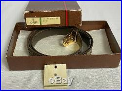 GUCCI Authentic Vintage Logo Belt Brown Leather Beige Gold/Silver Buckle Box/Tag