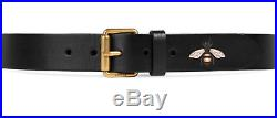 GUCCI Bee Black Leather Belt 434520 Size 95 38 1.5 Unisex Square Buckle $450