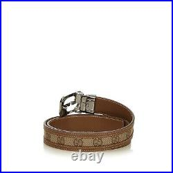 GUCCI Belt Jacquard New Current Logo 79 31 Brown Leather Beige Buckle Reversible