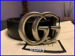 GUCCI Belt Leather with Double G buckle, 95