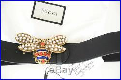 GUCCI Belt QUEEN MARGARET Gold GG Buckle Marmont Leather Black 80 / 32 fit 26-28