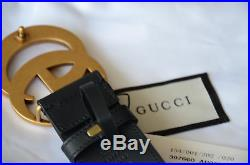 GUCCI Black Leather Belt GG Gold Buckle size 95/38 fits 32-36