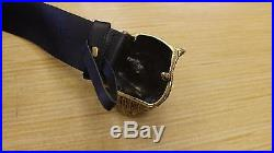 GUCCI Black Leather belt with feline buckle 36