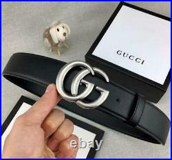 GUCCI Fashion Leather Belt Men's Women's Silver Buckles Party Jeans Belt With Bo