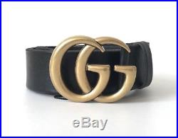 GUCCI GG Buckle Black Leather Belt Size 34