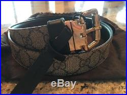 GUCCI GG SUPREME & Black LEATHER REVERSIBLE GOLD BUCKLE BELT 80/32 NWT (Saks)