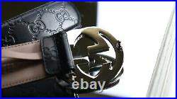 GUCCI GG Signature Logo Belt CWC1N Black Leather Silver Buckle 100/40
