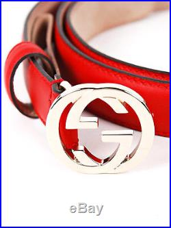 GUCCI Gucci Red Leather Skinny Belt with Interlocking G Buckle 370717 Size 34 NW
