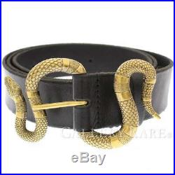 GUCCI Leather Belt Snake Buckle Black 458935 Mens 2019SS #120 Authentic 5524242