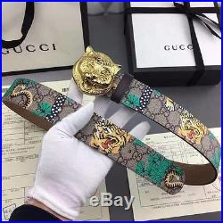 GUCCI Leather belt with feline buckle sz 95