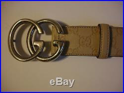 GUCCI Men's Classic Beige Guccissima Leather Belt withGG Buckle ITALY 38/95