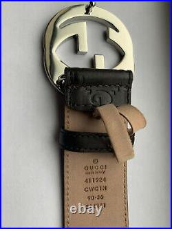 GUCCI Men's GG Logo Leather Belt Brown Color 411924 CWC1N Size 90-36 Authentic