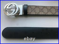GUCCI Men's GG Logo Leather Belt Reversible Black Color 473030 KGDHN Size 95-38