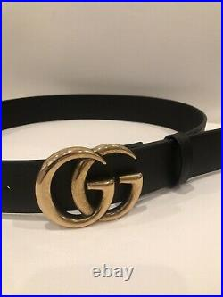 GUCCI Wide Leather Belt Double GG Buckle, Black/Gold, Authentic, 90cm/36 NEW