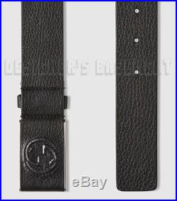 GUCCI black 38-95 Pebbled LEATHER covered INTERLOCKING G buckle belt NWT Authent