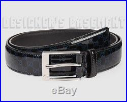 GUCCI black patent 36-90 blue GUCCISSIMA Leather LOGO buckle Belt NWT Authentic