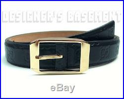 GUCCI dark navy 38-95 GUCCISSIMA leather Gold buckle Mens dress Belt NWT Authent