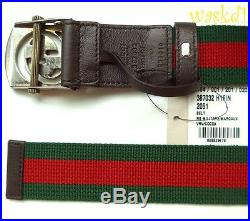GUCCI green red 40-100 WEB Canvas INTERLOCKING G cutout buckle Belt NWT Auth