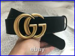 GUCCI luxury genuine leather black gold GG buckle 35mm