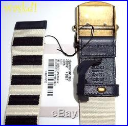 GUCCI navy & ivory Stripe Canvas 36-90 brass ANCHOR Slip buckle Belt NWT Authent