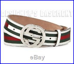 GUCCI white leather 44-110 green/red WEB INTERLOCKING G buckle belt NWT Authentc