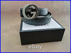 Genuine Gucci Vintage Signature Leather Mens Belt in Black with a Stainless Ste