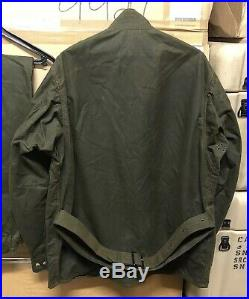 Genuine Rare Nato Barbour M12 Motorcycle Jacket Wax Olive New! C46 / 117cm