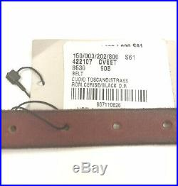 Gucci #422107 Angry Cat Crystal Buckle Red Leather Belt, 90-36 NWT