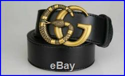 Gucci Authentic Leather belt with Double G buckle with snake size 95 to 125