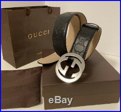 Gucci Authentic Men Leather Belt With Gg Buckle Brand New Black Us Size 32-34