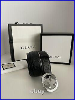 Gucci Authentic Men Leather Belt With Gg Buckle Brand New Black Us Size 36-38
