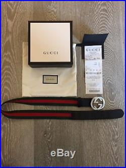 Gucci Authentic Web Belt with G buckle Boxed, Receipt, Selfridges, 32 Inches
