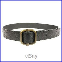 Gucci Belt Black GG Logo Embossed Leather Square Outline Buckle One Size