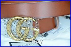 Gucci Belt Brown Leather Marmont Gold GG Buckle size 110 fits 38-40