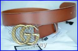Gucci Belt Brown Leather Marmont Gold GG Buckle size 80 fits 26-28