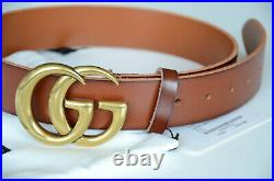 Gucci Belt Brown Leather Marmont Gold GG Buckle size 85 fits 28-30