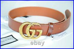 Gucci Belt Brown Leather Marmont Gold GG Buckle size 90 fits 30-32
