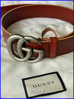 Gucci Belt Brown Silver Marmont GG Buckle size 100 / 40 fits 34-36