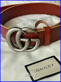 Gucci Belt Brown Silver Marmont GG Buckle size 80 / 32 fits 26-28