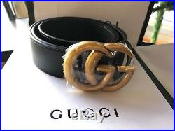 Gucci Belt GG GOLD Buckle Black Leather MARMONT