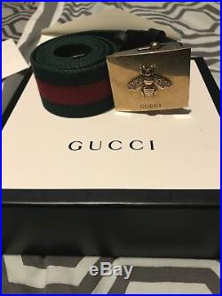 Gucci Belt Mens Green And Red With Square Bee Buckle