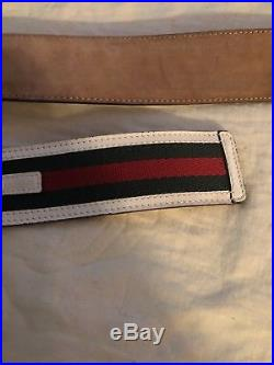Gucci Belt With GG Buckle Red White Green Webbing Size 46 in 115 cm $440