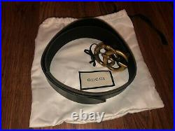 Gucci Black Belt with Double G Snake Buckle Authentic
