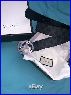 Gucci Black Mens Leather Belt Silver GG Buckle Size 95cm 38 NEW