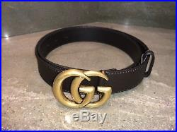 Gucci Brown Leather belt with Double G buckle (85cm) 34 inch belt